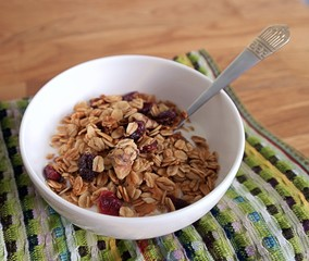Granola with cranberries, nuts and natural yoghurt