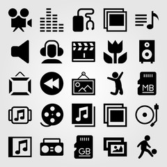 Multimedia vector icon set. picture, memory, headphones and jumping man