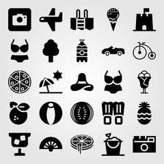 Summertime vector icon set. swimsuit, swimming pool, bicycle and sand bucket