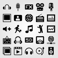 Multimedia vector icon set. user, man, speaker and radio