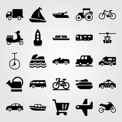 Transport vector icon set. taxi, caravan, motorbike and unicycle