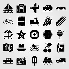 Summertime vector icon set. starfish, beach towel, sea scooter and truck