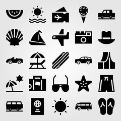 Summertime vector icon set. tent, shell, sailboat and hot dog