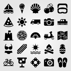 Summertime vector icon set. ice cream, cocktail, motorbike and photo camera