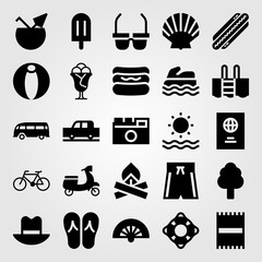Summertime vector icon set. hot dog, car, sea scooter and swimming pool