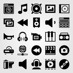 Multimedia vector icon set. picture, internet, rewind and trumpet