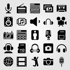 Multimedia vector icon set. cassette, man, volume and picture