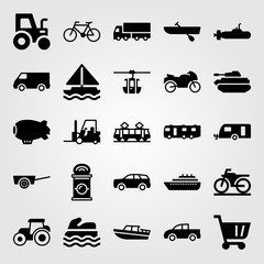 Transport vector icon set. pickup truck, motorbike, boat and truck