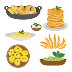 Icon set of dishes of potatoes on white background.
