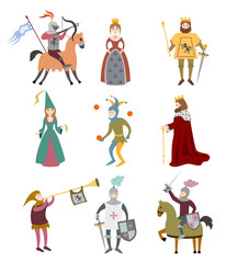 Set of cartoon medieval characters on white background.