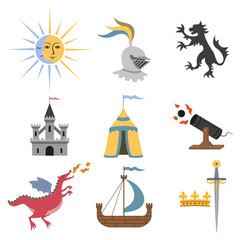 Set of cartoon medieval attributes on white background.