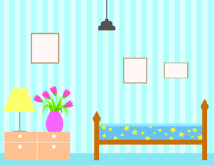 Bedroom with furniture. Flat style vector illustration. Cozy interior. Hotel room.