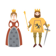 Cartoon king and queen on white background.