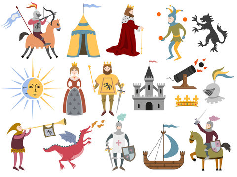 Big set of cartoon medieval characters and medieval attributes on white background.