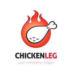 Fried Chicken leg vector logo design template with flames. Barbecue concept in cartoon line art style sign, symbol.