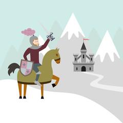 Cartoon knight on horseback and medieval castle on snow mountain.