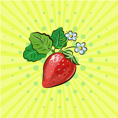 strawberry pop art fruits vector illustration with flowers