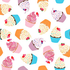 Cupcake seamless vector pattern on white background. Sweet cream dessert pattern for texture  fabric prints decorations greeting cards.