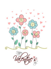 Valentine's day card with flowers and hearts. Vector illustration.