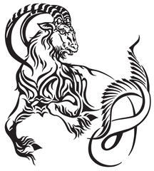 capricorn zodiac sign . Tribal tattoo style mythological creature . Astrological sea goat including symbol of saturn planet  . Black and white vector illustration