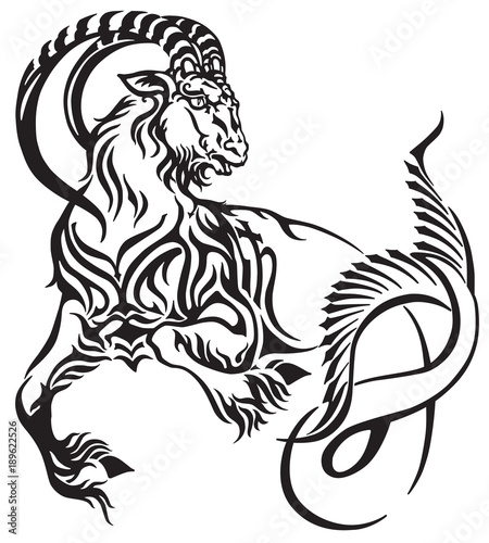 Capricorn Zodiac Sign Tribal Tattoo Style Mythological Creature