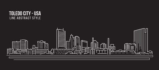 Cityscape Building Line art Vector Illustration design - Toledo city (USA)