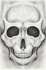 Art smiley Skull. Hand pencil drawing on paper.