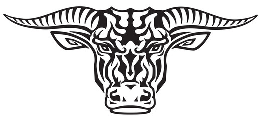 taurus bull head . Front view tribal tattoo style vector illustration