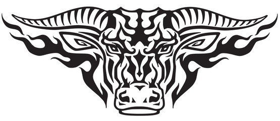 taurus bull head in the flames . Front view tribal tattoo style vector illustration
