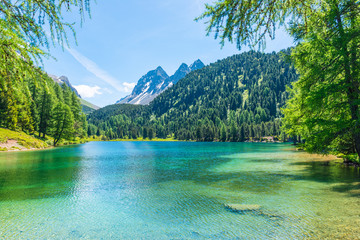 Summer day. Alps in Switzerland. Grisons. Path  across the lake. Forest landscape in summer. Walk in the canton of Grisons.