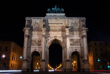 Victory gate in Munich in the night