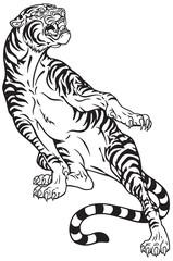 aggressive tiger .Black and white tattoo style vector illustration