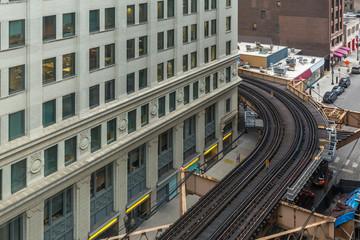 Looking down at urban subway tracks