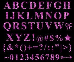 Pink Glitter Alphabet Letters Symbols