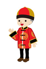 Toddler Boy Wearing Chinese National costume - Palms up