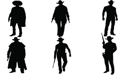 Set of Western silhouette