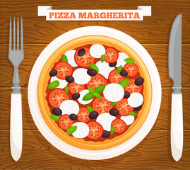 Pizza margherita on a plate, top view. Vector illustration. Pizza served on a wooden table with a knife, fork and inscription.