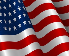 Vector illustration of United States of America  realistic flag.