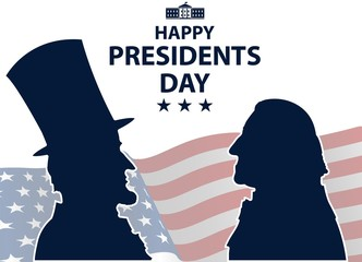 Happy Presidents Day in USA Background. George Washington and Abraham Lincoln silhouettes with flag as background. United States of America celebration. Vector illustration.