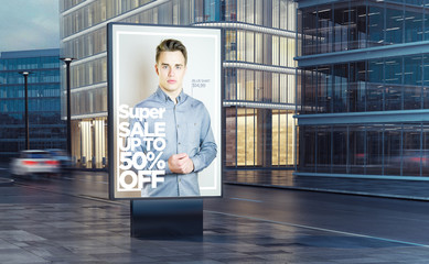 super fashion sale billboard on the street
