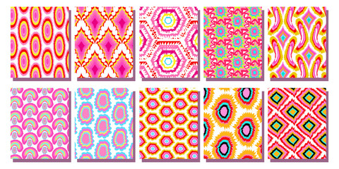 set Geometric Ikat pattern
