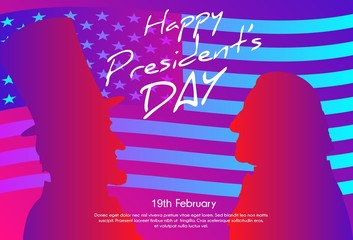Happy Presidents Day in USA Background. George Washington and Abraham Lincoln silhouettes with flag as background. Soft color gradient background.