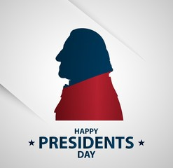 Creative illustration, poster or banner of Presidents Day! - February 19th.  George Washington silhouettes.