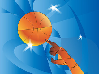 Abstract sports background. Vector illustration with ball for design. The hand touches the ball basketball. A pseudo polygon.