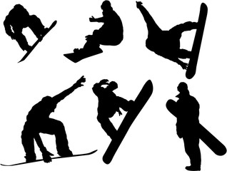 Set of Snowboarder silhouette
