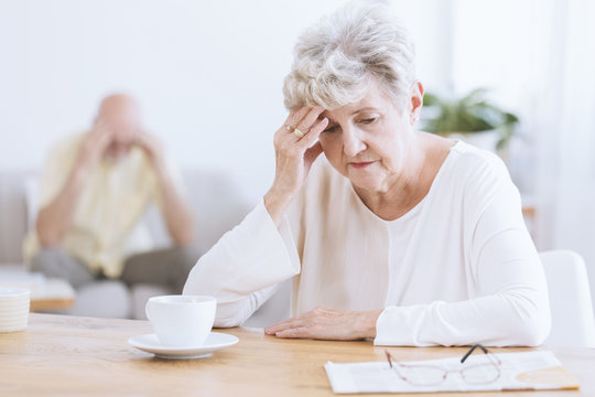 Sad senior woman after quarrel