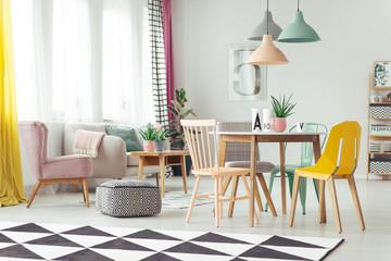 Geometric carpet in colorful interior