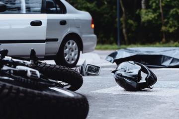 Motorcycle helmet on the street