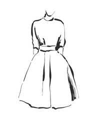 Vector dress drawing. Hand drawn clothes sketch