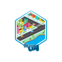 big city isometric real estate realty cartoon logo template